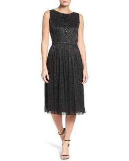 Metallic Pleated Midi Dress