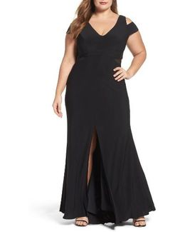 Illusion Inset Cold Shoulder Jersey Gown