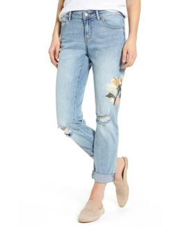 Caslon Ripped & Floral Embroidered Straight Leg Jeans