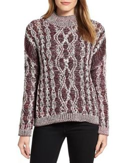 Caslon Marled Cable Pullover
