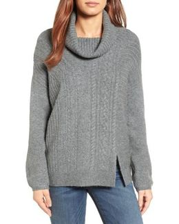 Caslon Cabled Cowl Neck Pullover