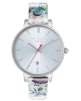 Kate Round Leather Strap Watch