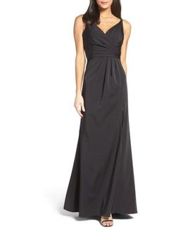 Cross Back Side Pleat Satin Gown