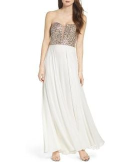 Embellished Strapless Gown