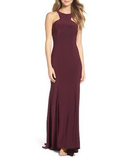 Jersey Cutout Bodice Gown