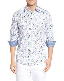 Shaped Fit Bird Print Sport Shirt