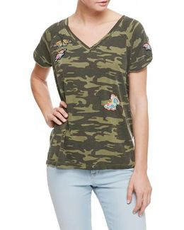 Cotton Embroidered Camouflage-print T-shirt