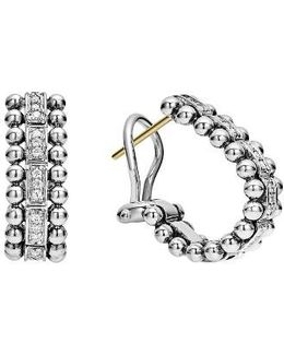 Caviar Spark Diamond Oval Hoop Earrings