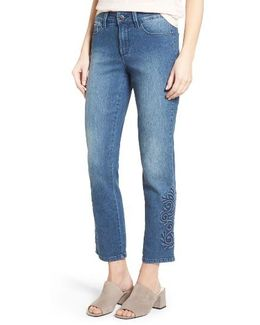 Ira Embroidered Relaxed Ankle Jeans
