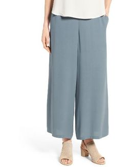 Silk Georgette Wide Leg Crop Pants