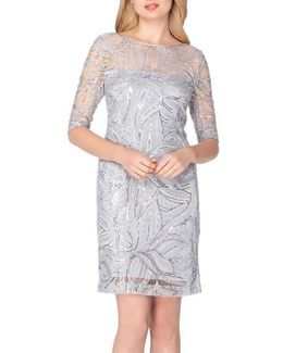 Sequin Illusion Sheath Dress