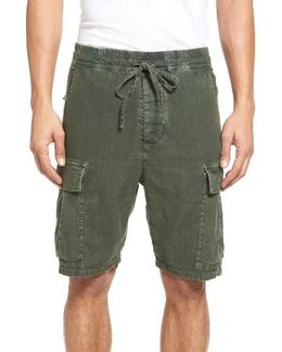 Drop Crotch Linen Blend Cargo Shorts