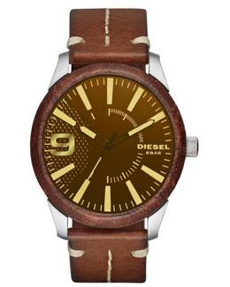 Diesel Rasp Leather Wrapped Strap Watch