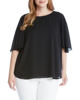 Crepe Cape Sleeve Top