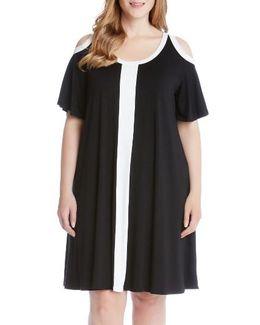 Colorblock Cold Shoulder Dress