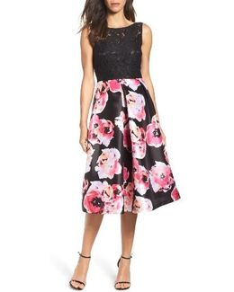 Lace & Print Satin Midi Dress