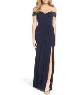 Off The Shoulder Beaded Gown