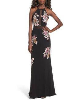 Embellished Floral Halter Gown