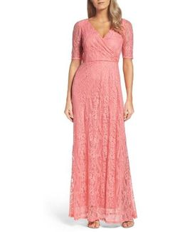 Lace Faux Wrap Gown