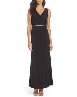 Embellished Drape Back Gown