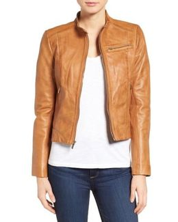 Band Collar Leather Racer Jacket