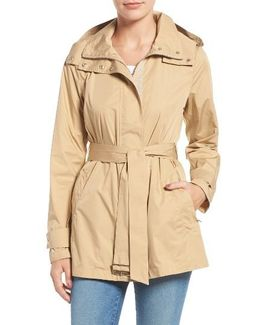Packable Belted Rain Coat, Beige