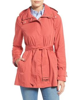 Packable Belted Rain Coat, Red