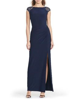 Embellished Draped Jersey Gown