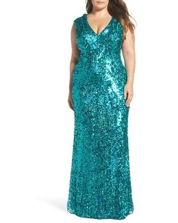 Sequin Plunging V-neck Gown