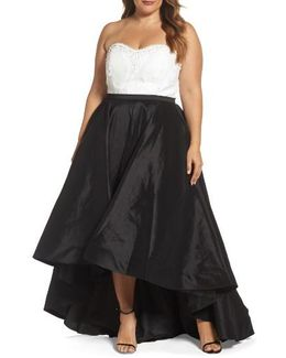 Embellished Lace & Taffeta Strapless High/low Gown