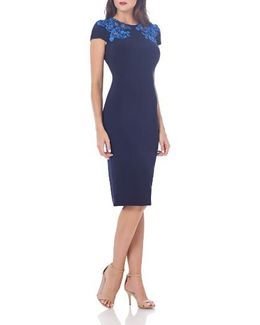 Embroidered Jersey Sheath Dress