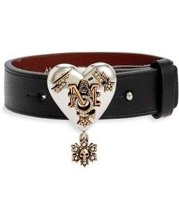 Metallic Heart Leather Bracelet