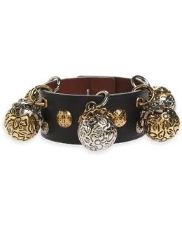 Metallic Sphere Leather Bracelet