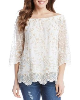 Embroidered Mesh Off The Shoulder Top