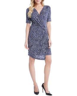 Geo Print Cascade Faux Wrap Dress