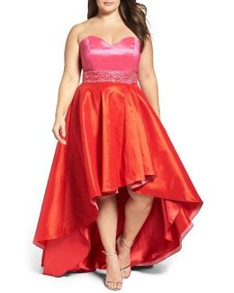 Strapless Colorblock High/low Gown