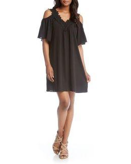 Lace Trim Crepe Cold Shoulder Dress