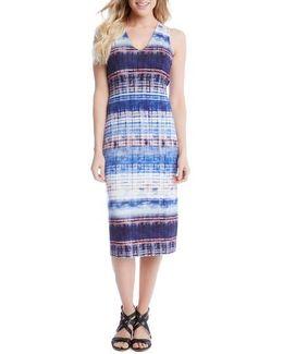 Distressed Stripe Knit Midi Dress