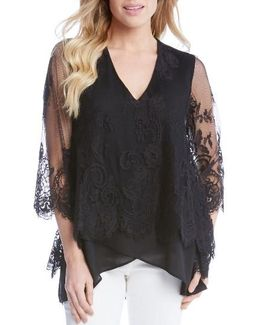 Lace Overlay Asymmetrical Top