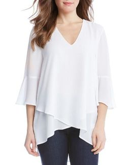 Bell Sleeve Wrap Front Top