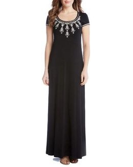Embroidered Cap Sleeve Maxi Dress