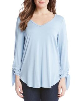 Tie Sleeve V-neck Top
