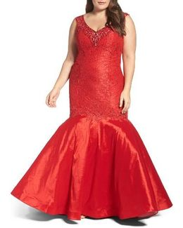 Embellished Lace & Taffeta Mermaid Gown