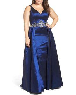 Embellished Waist Taffeta Ballgown