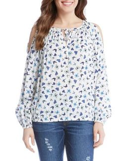 Print Cold Shoulder Peasant Top