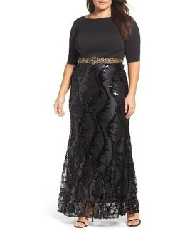Embellished Mixed Media Gown