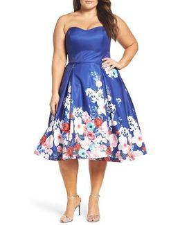 Floral Strapless Cocktail Dress