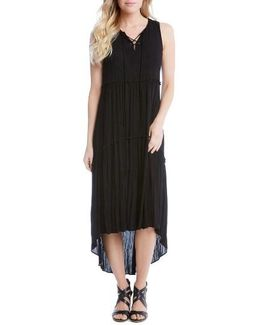 Lace-up Tiered High/low Dress