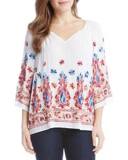 Embroidered Split Neck Blouse