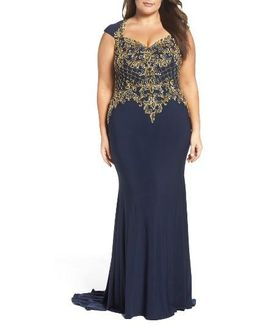 Embellished Jersey Mermaid Gown